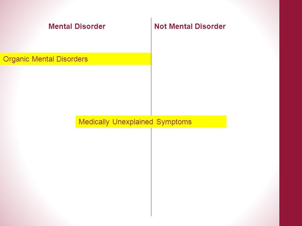 Medically Unexplained Symptoms Mental DisorderNot Mental Disorder Organic Mental Disorders