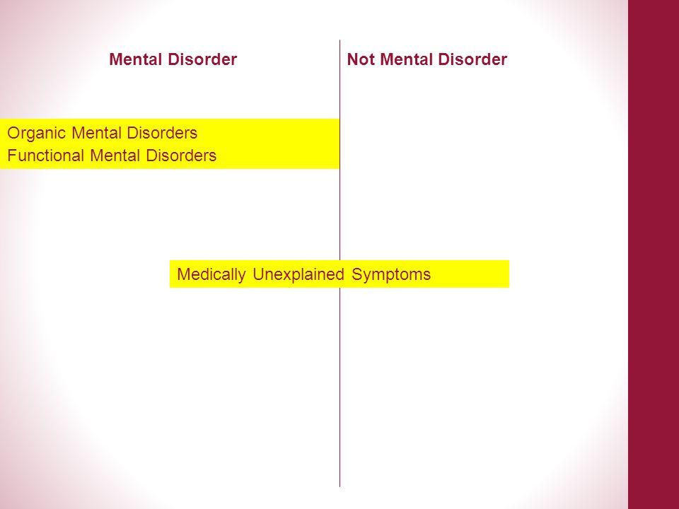 Functional Mental Disorders Medically Unexplained Symptoms Mental DisorderNot Mental Disorder Organic Mental Disorders