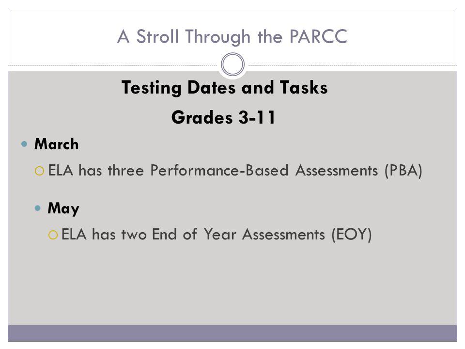A Stroll Through the PARCC ELA PBA Narrative Task (NWT) Literary Analysis Task (LAT) Research Simulation Task (RST)
