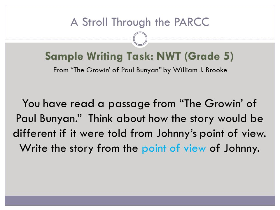 A Stroll Through the PARCC Literary Analysis Task (LAT)  Always two works of fiction Multiple Choice questions: http://parcc.pearson.com/practice- tests/english/