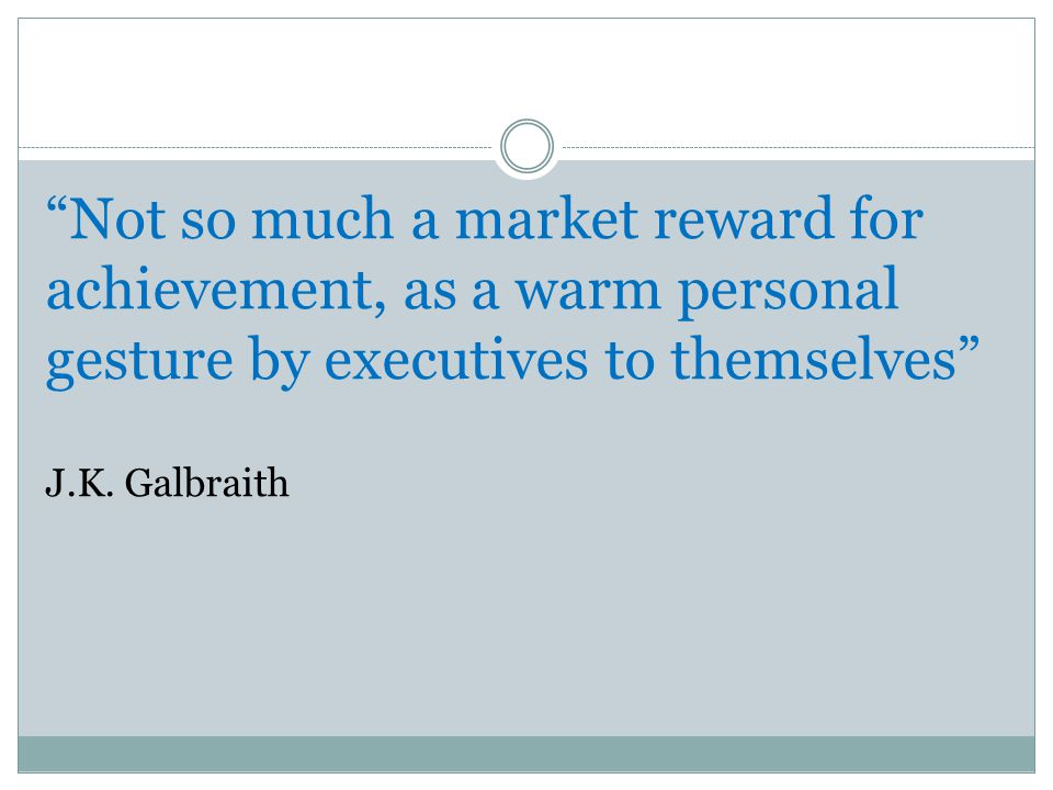 Not so much a market reward for achievement, as a warm personal gesture by executives to themselves J.K.