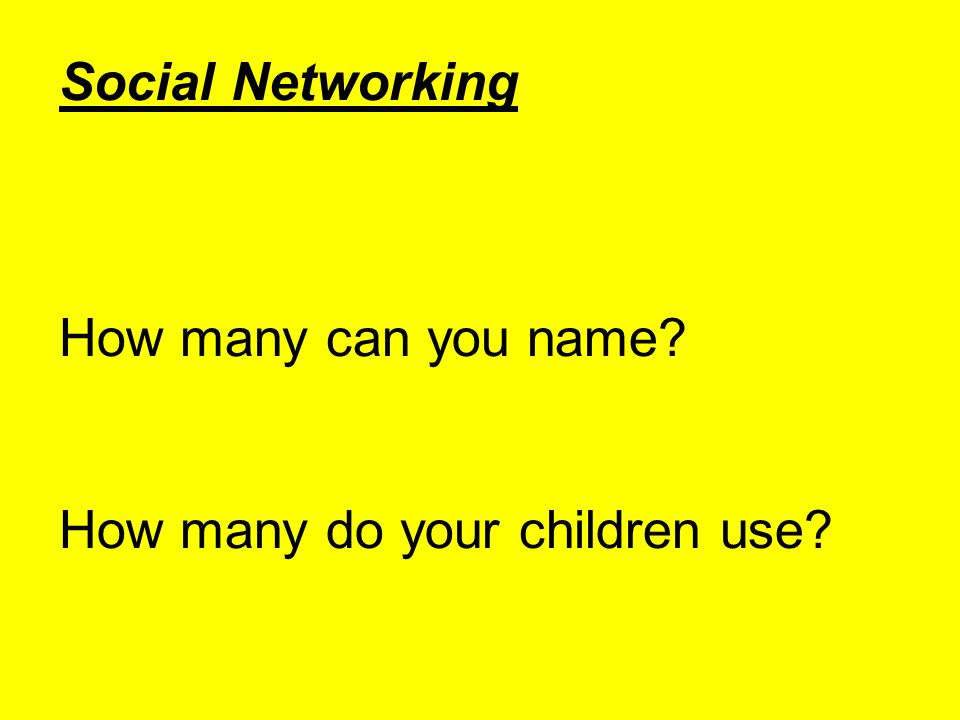 Social Networking How many can you name How many do your children use