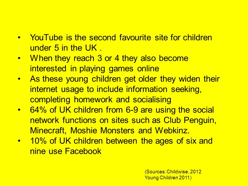 YouTube is the second favourite site for children under 5 in the UK. When they reach 3 or 4 they also become interested in playing games online As the