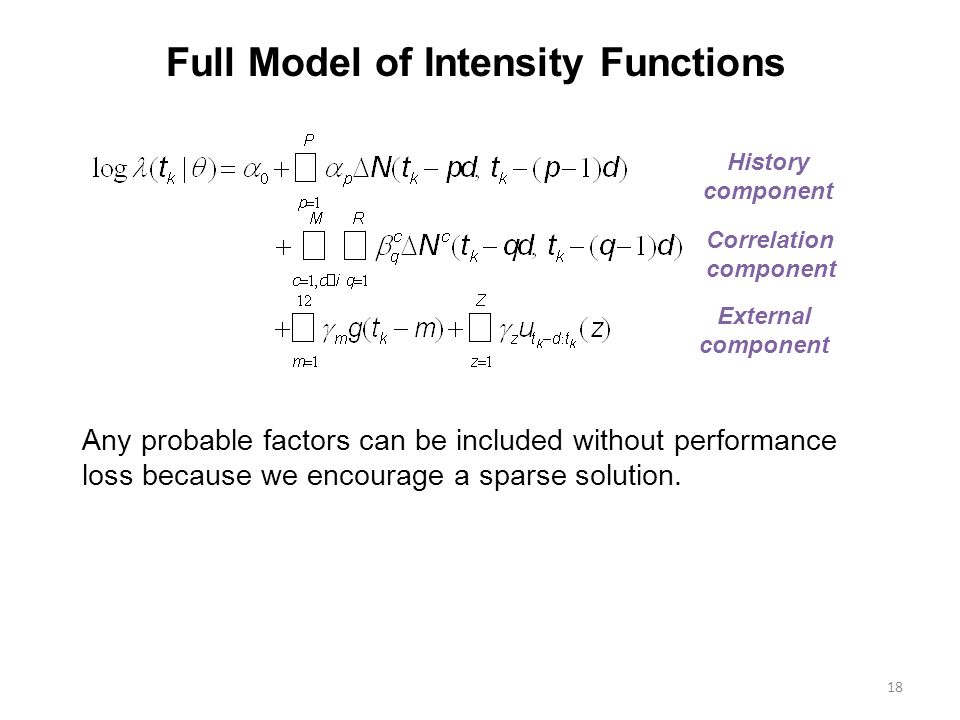 18 Full Model of Intensity Functions History component Correlation component External component Any probable factors can be included without performance loss because we encourage a sparse solution.