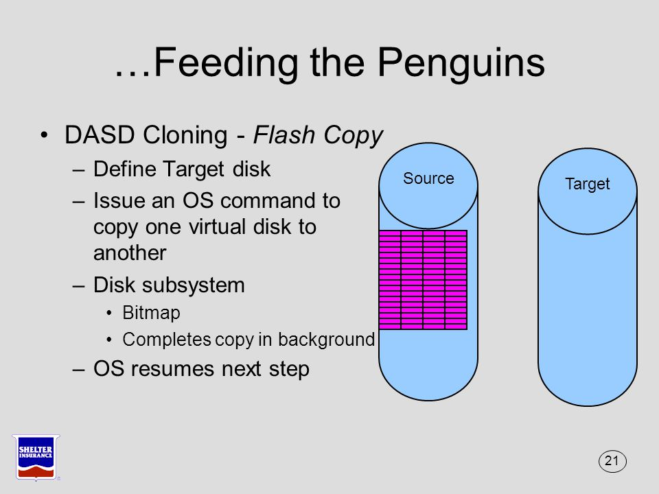 21 …Feeding the Penguins DASD Cloning - Flash Copy –Define Target disk –Issue an OS command to copy one virtual disk to another –Disk subsystem Bitmap Completes copy in background –OS resumes next step Source Target