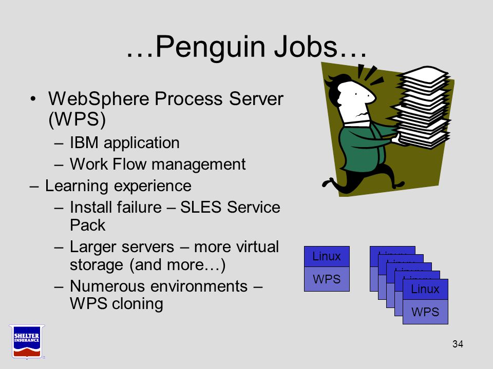 34 …Penguin Jobs… WebSphere Process Server (WPS) –IBM application –Work Flow management –Learning experience –Install failure – SLES Service Pack –Larger servers – more virtual storage (and more…) –Numerous environments – WPS cloning Linux WPS Linux WPS Linux WPS Linux WPS Linux WPS Linux WPS