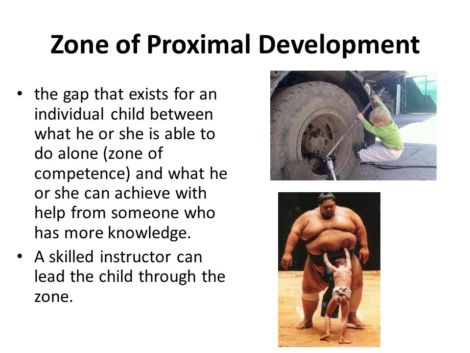 Zone of Proximal Development the gap that exists for an individual child between what he or she is able to do alone (zone of competence) and what he o