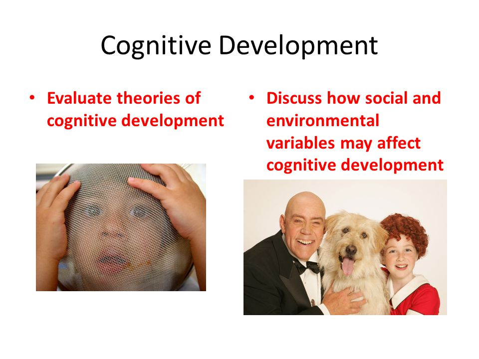 Cognitive Development Evaluate theories of cognitive development Discuss how social and environmental variables may affect cognitive development