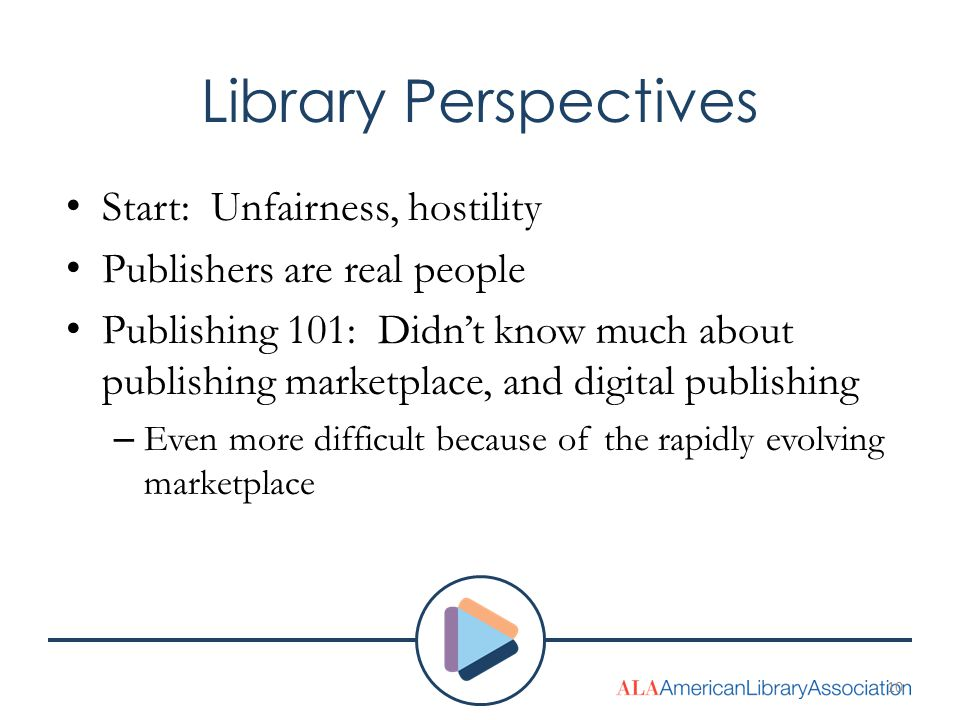 Library Perspectives Start: Unfairness, hostility Publishers are real people Publishing 101: Didn't know much about publishing marketplace, and digital publishing – Even more difficult because of the rapidly evolving marketplace 10