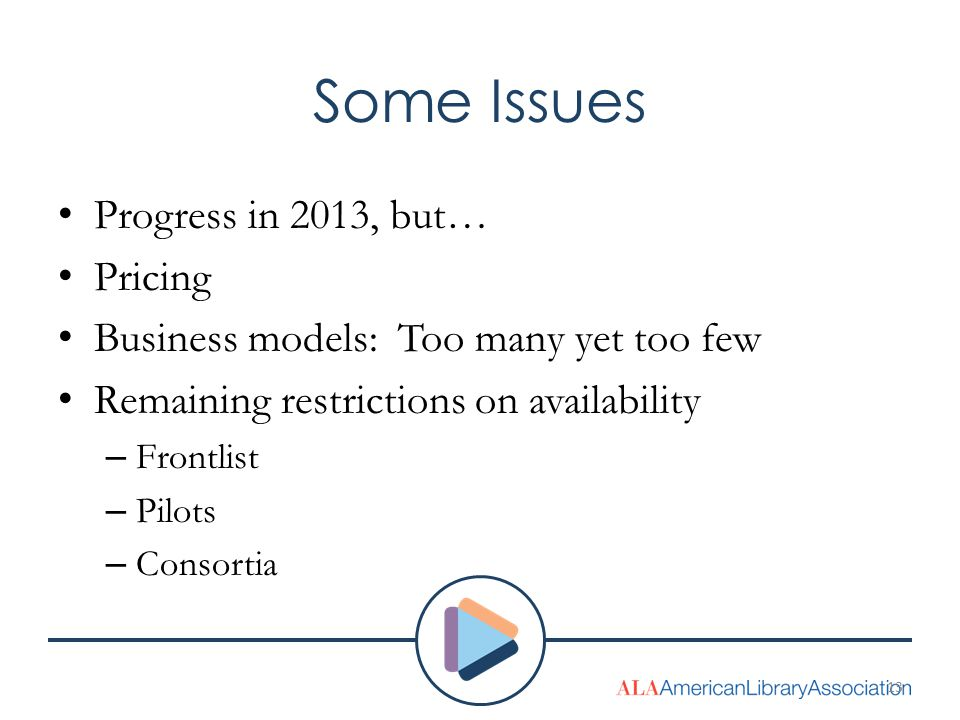 Some Issues Progress in 2013, but… Pricing Business models: Too many yet too few Remaining restrictions on availability – Frontlist – Pilots – Consort