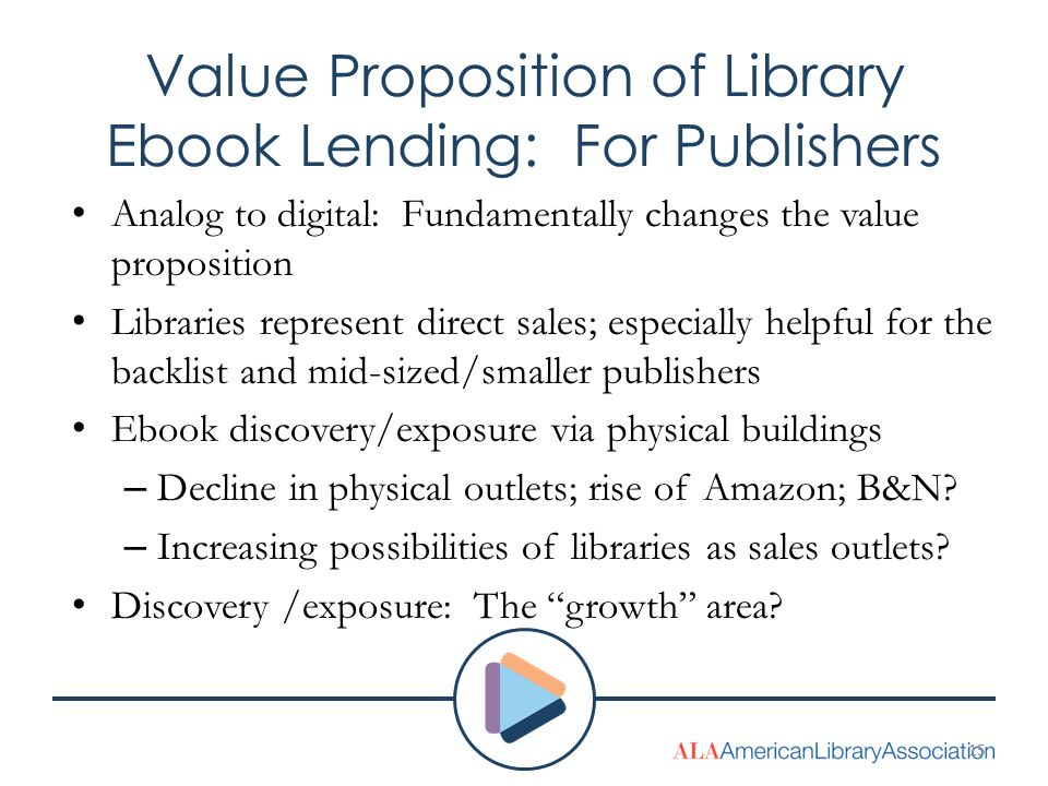 Value Proposition of Library Ebook Lending: For Publishers Analog to digital: Fundamentally changes the value proposition Libraries represent direct sales; especially helpful for the backlist and mid-sized/smaller publishers Ebook discovery/exposure via physical buildings – Decline in physical outlets; rise of Amazon; B&N.