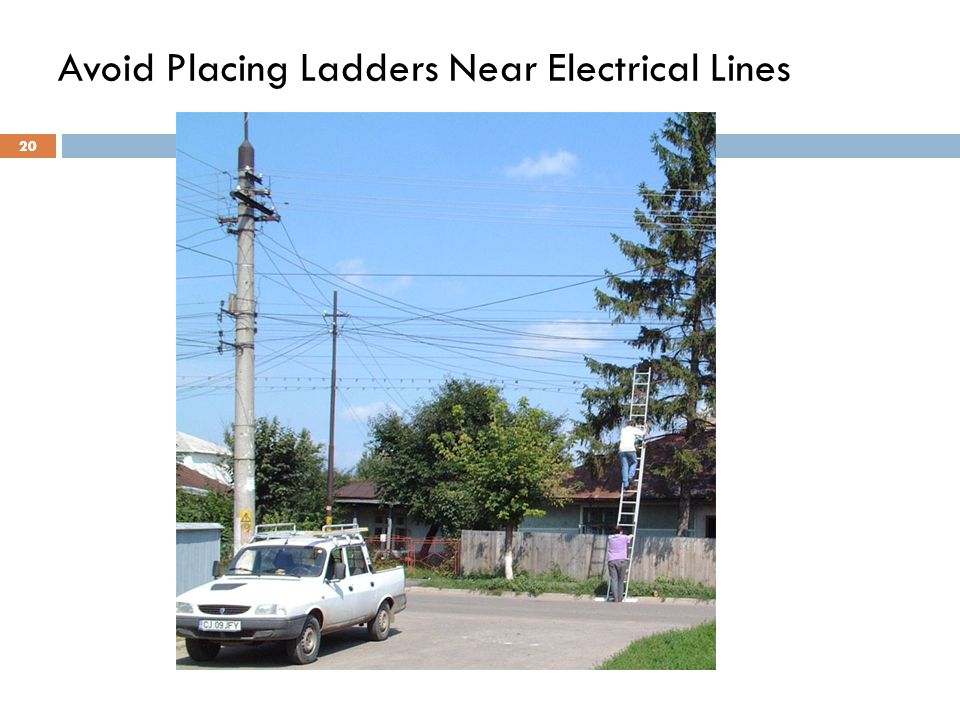 20 Avoid Placing Ladders Near Electrical Lines