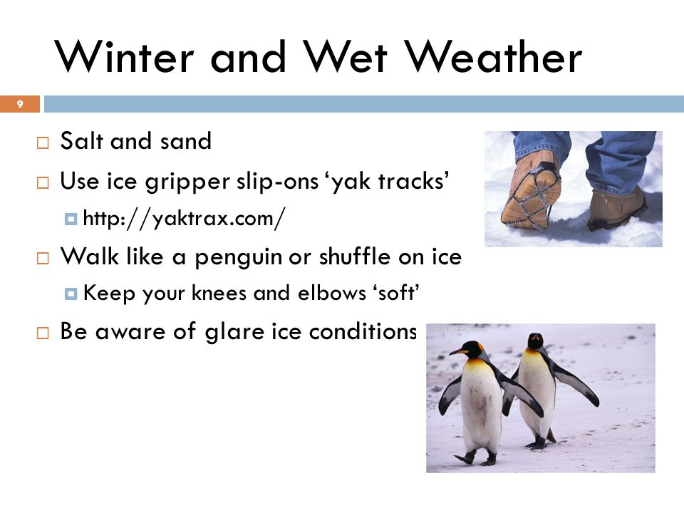 9 Winter and Wet Weather  Salt and sand  Use ice gripper slip-ons 'yak tracks'     Walk like a penguin or shuffle on ice  Keep your knees and elbows 'soft'  Be aware of glare ice conditions 9