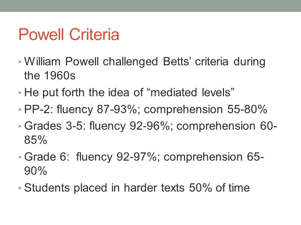"""Powell Criteria William Powell challenged Betts' criteria during the 1960s He put forth the idea of """"mediated levels"""" PP-2: fluency 87-93%; comprehens"""