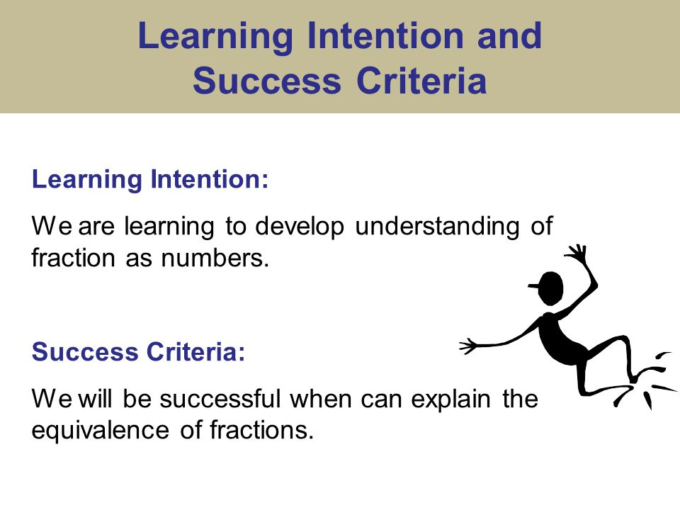 Learning Intention and Success Criteria Learning Intention: We are learning to develop understanding of fraction as numbers.