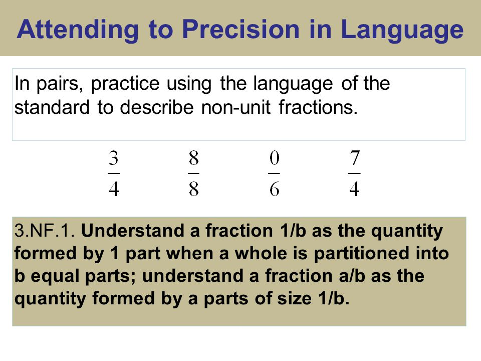 Attending to Precision in Language 3.NF.1.