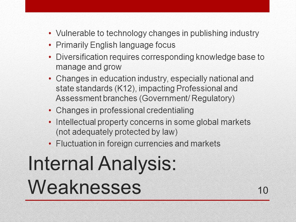 Internal Analysis: Weaknesses Vulnerable to technology changes in publishing industry Primarily English language focus Diversification requires corresponding knowledge base to manage and grow Changes in education industry, especially national and state standards (K12), impacting Professional and Assessment branches (Government/ Regulatory) Changes in professional credentialing Intellectual property concerns in some global markets (not adequately protected by law) Fluctuation in foreign currencies and markets 10