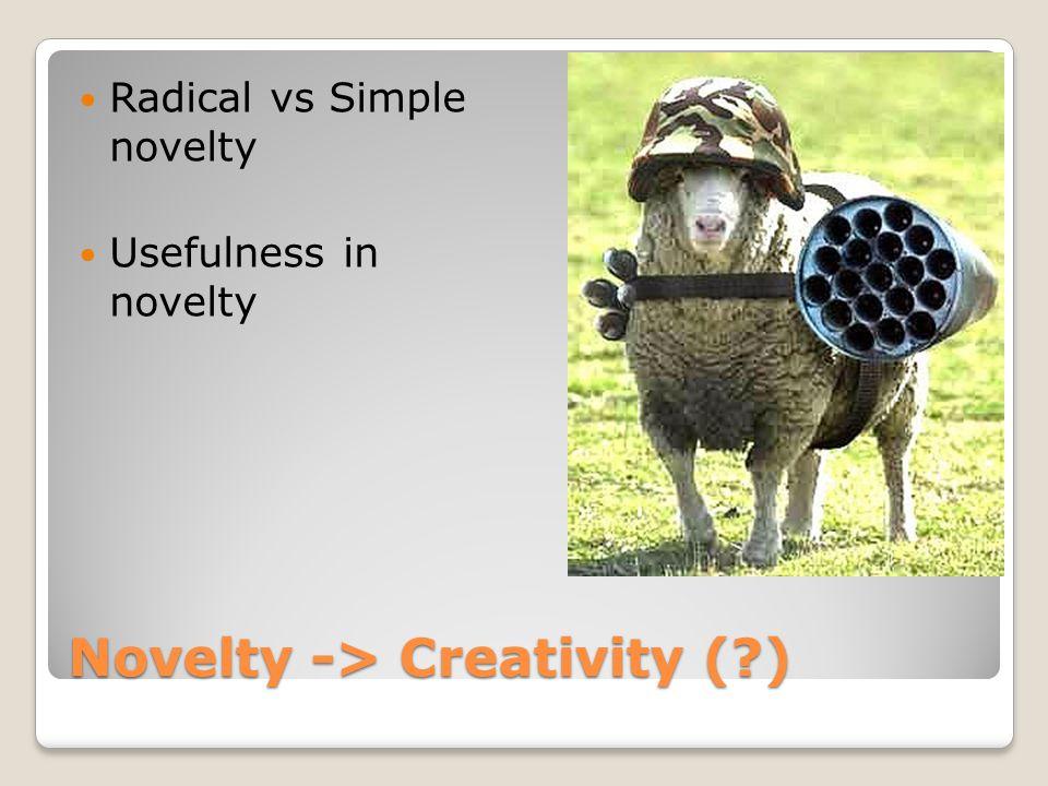 Novelty -> Creativity (?) Radical vs Simple novelty Usefulness in novelty