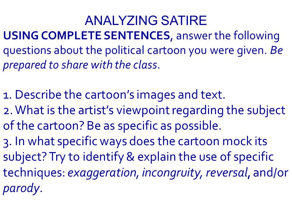 All are examples of SATIRE.