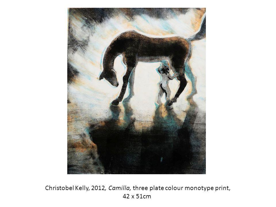 Christobel Kelly, 2012, Camilla, three plate colour monotype print, 42 x 51cm