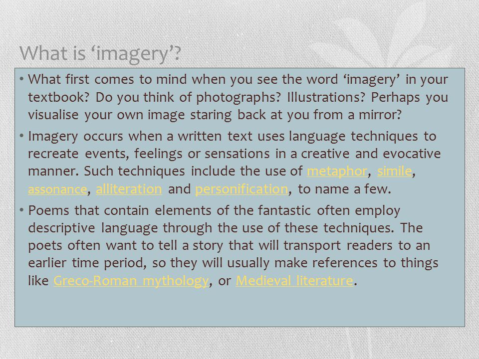 What is 'imagery'.What first comes to mind when you see the word 'imagery' in your textbook.
