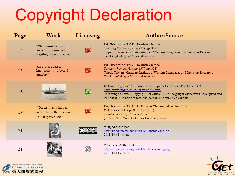 Copyright Declaration PageWork LicensingAuthor/Source 14 Chicago—Chicago is an ancient … consumed together, rotting, together Pai, Hsien-yung.(1979).