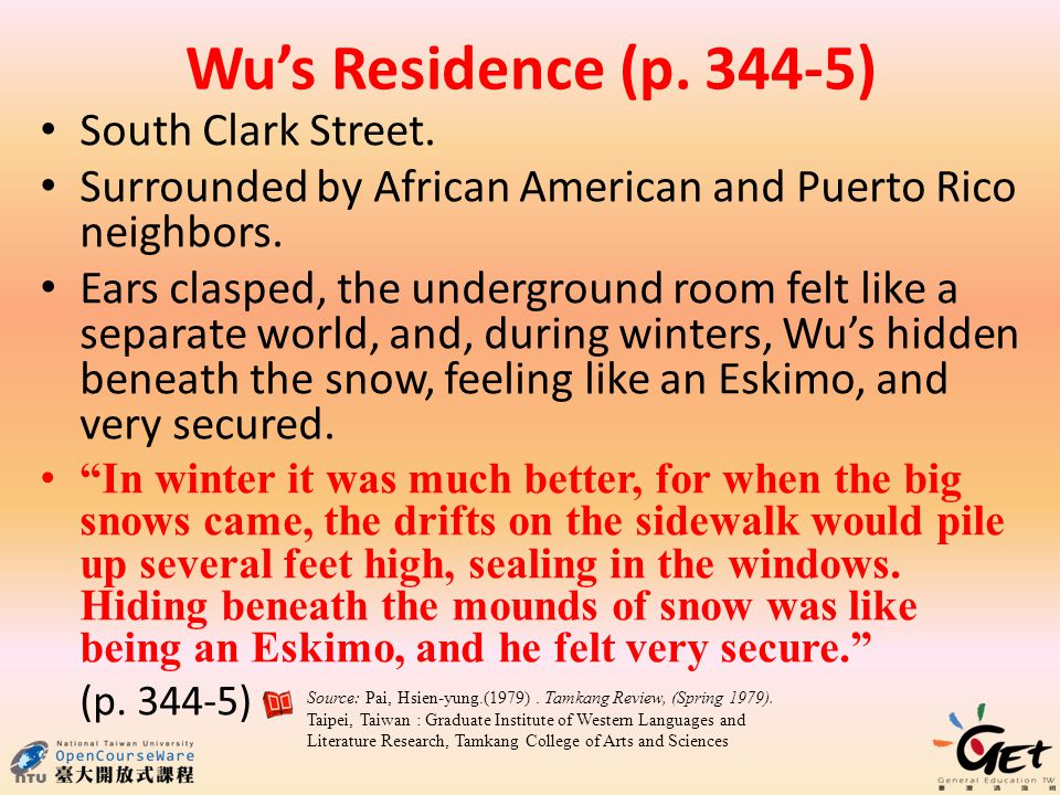 Wu's Residence (p. 344-5) South Clark Street.
