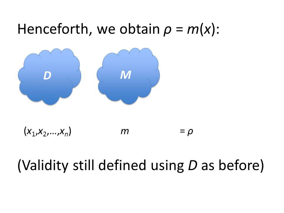 Henceforth, we obtain ρ = m(x): (Validity still defined using D as before) D D M M (x 1,x 2,…,x n )m= ρ
