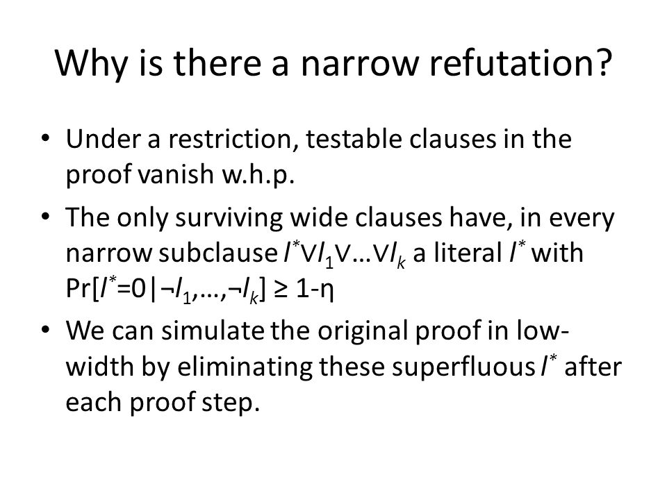 Why is there a narrow refutation? Under a restriction, testable clauses in the proof vanish w.h.p. The only surviving wide clauses have, in every narr