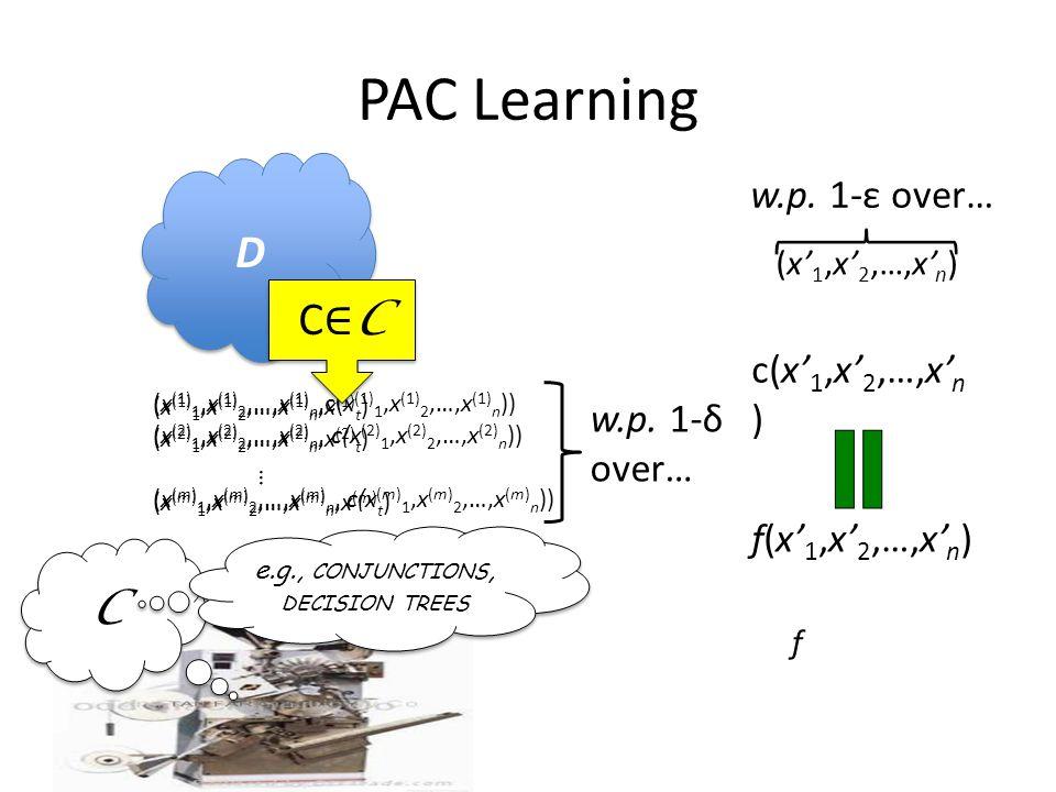 PAC Learning (x (1) 1,x (1) 2,…,x (1) n,x (1) t ) (x (2) 1,x (2) 2,…,x (2) n,x (2) t ) (x (m) 1,x (m) 2,…,x (m) n,x (m) t ) … D D f (x (1) 1,x (1) 2,…,x (1) n,c(x (1) 1,x (1) 2,…,x (1) n )) (x (2) 1,x (2) 2,…,x (2) n, c(x (2) 1,x (2) 2,…,x (2) n )) (x (m) 1,x (m) 2,…,x (m) n, c(x (m) 1,x (m) 2,…,x (m) n )) C C C∈CC∈C C∈CC∈C w.p.