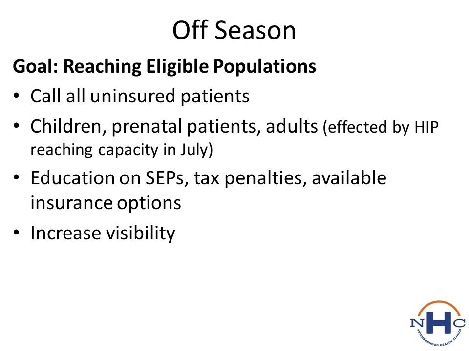 Off Season Goal: Reaching Eligible Populations Call all uninsured patients Children, prenatal patients, adults (effected by HIP reaching capacity in J