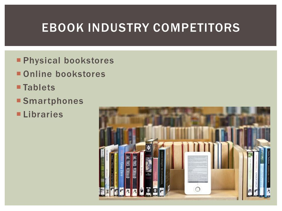  Physical bookstores  Online bookstores  Tablets  Smartphones  Libraries EBOOK INDUSTRY COMPETITORS