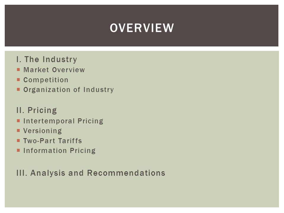 I.The Industry  Market Overview  Competition  Organization of Industry II.