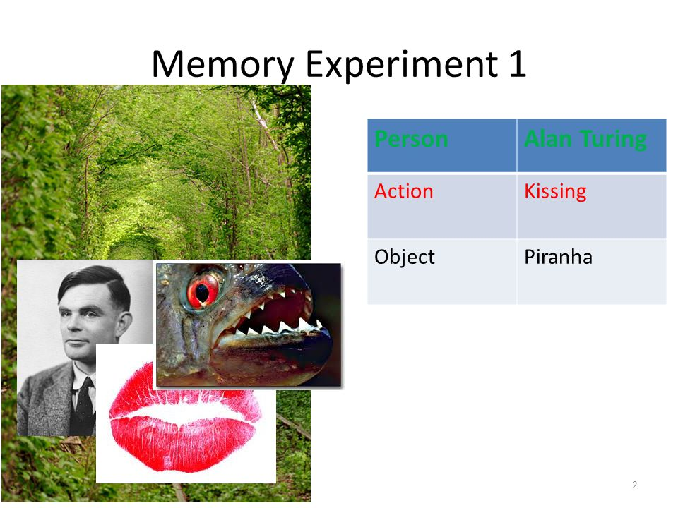 Memory Experiment 1 2 PersonAlan Turing ActionKissing ObjectPiranha