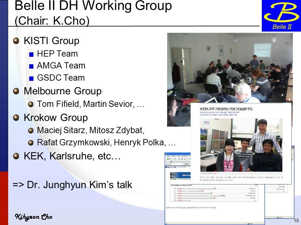 Kihyeon Cho Belle II DH Working Group (Chair: K.Cho) KISTI Group HEP Team AMGA Team GSDC Team Melbourne Group Tom Fifield, Martin Sevior, … Krokow Group Maciej Sitarz, Mitosz Zdybat, Rafat Grzymkowski, Henryk Polka, … KEK, Karlsruhe, etc… => Dr.
