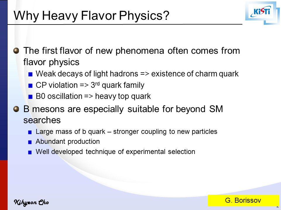 Kihyeon Cho Why Heavy Flavor Physics.