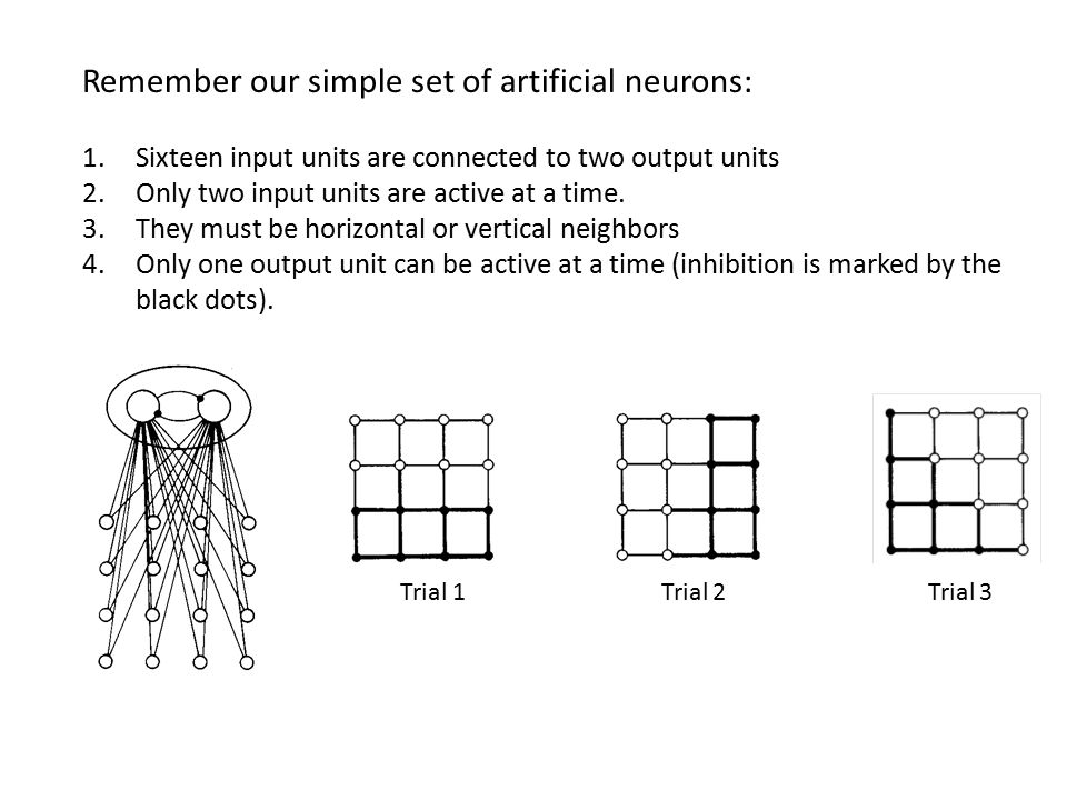 Remember our simple set of artificial neurons: 1.Sixteen input units are connected to two output units 2.Only two input units are active at a time. 3.