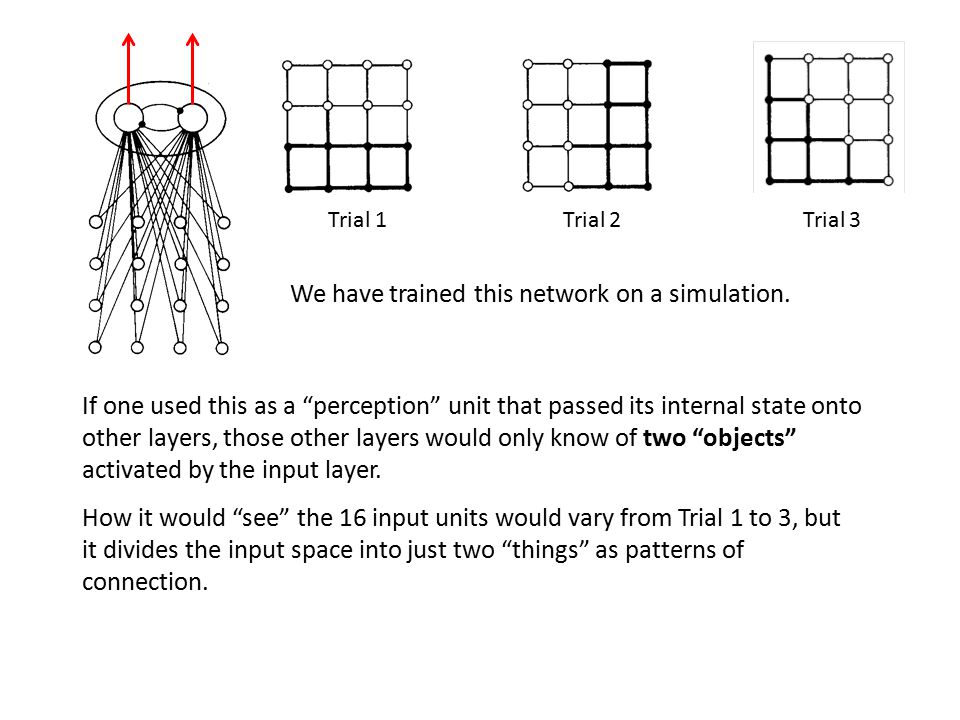 If one used this as a perception unit that passed its internal state onto other layers, those other layers would only know of two objects activated by the input layer.