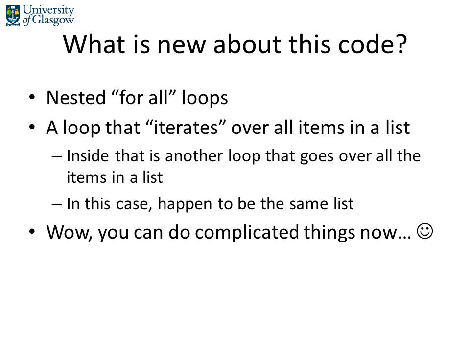 What is new about this code.