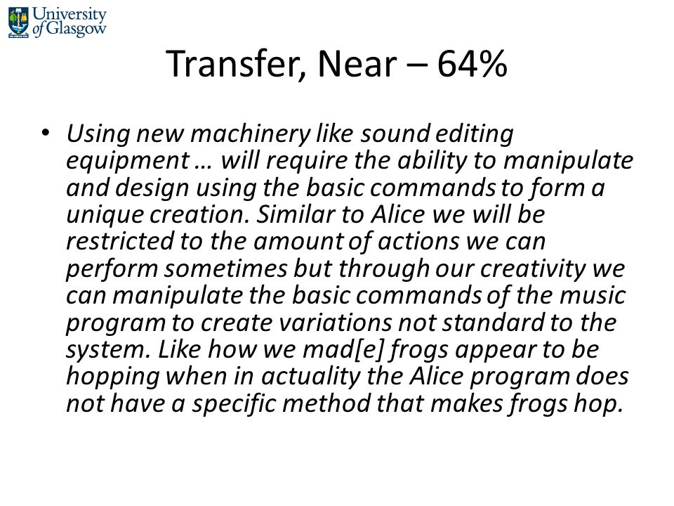 Transfer, Near – 64% Using new machinery like sound editing equipment … will require the ability to manipulate and design using the basic commands to form a unique creation.