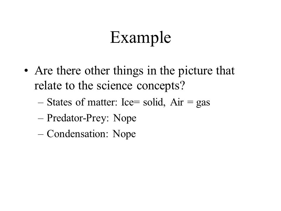 Example Are there other things in the picture that relate to the science concepts.