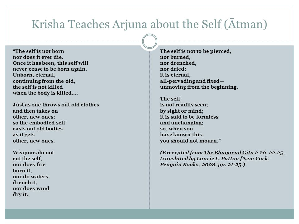 Krisha Teaches Arjuna about the Self (Ātman) The self is not born nor does it ever die.