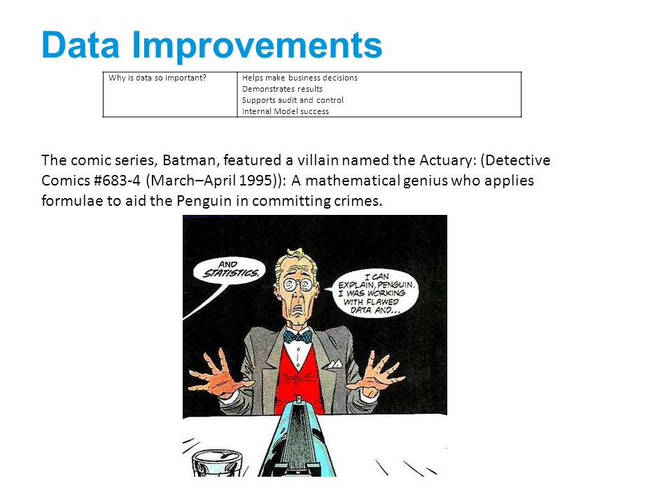 Data Improvements Why is data so important Helps make business decisions Demonstrates results Supports audit and control Internal Model success The comic series, Batman, featured a villain named the Actuary: (Detective Comics #683-4 (March–April 1995)): A mathematical genius who applies formulae to aid the Penguin in committing crimes.