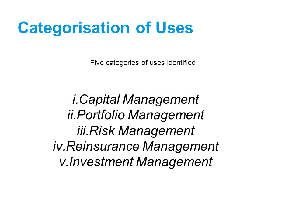 Categorisation of Uses Five categories of uses identified i.Capital Management ii.Portfolio Management iii.Risk Management iv.Reinsurance Management v.Investment Management