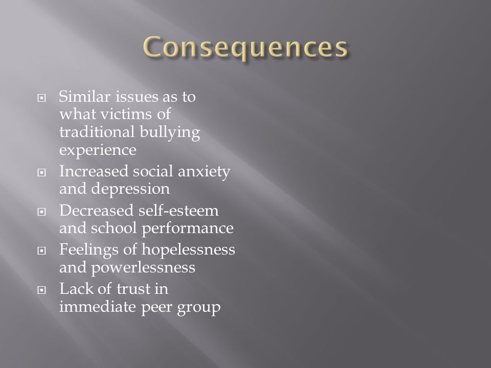  Similar issues as to what victims of traditional bullying experience  Increased social anxiety and depression  Decreased self-esteem and school performance  Feelings of hopelessness and powerlessness  Lack of trust in immediate peer group