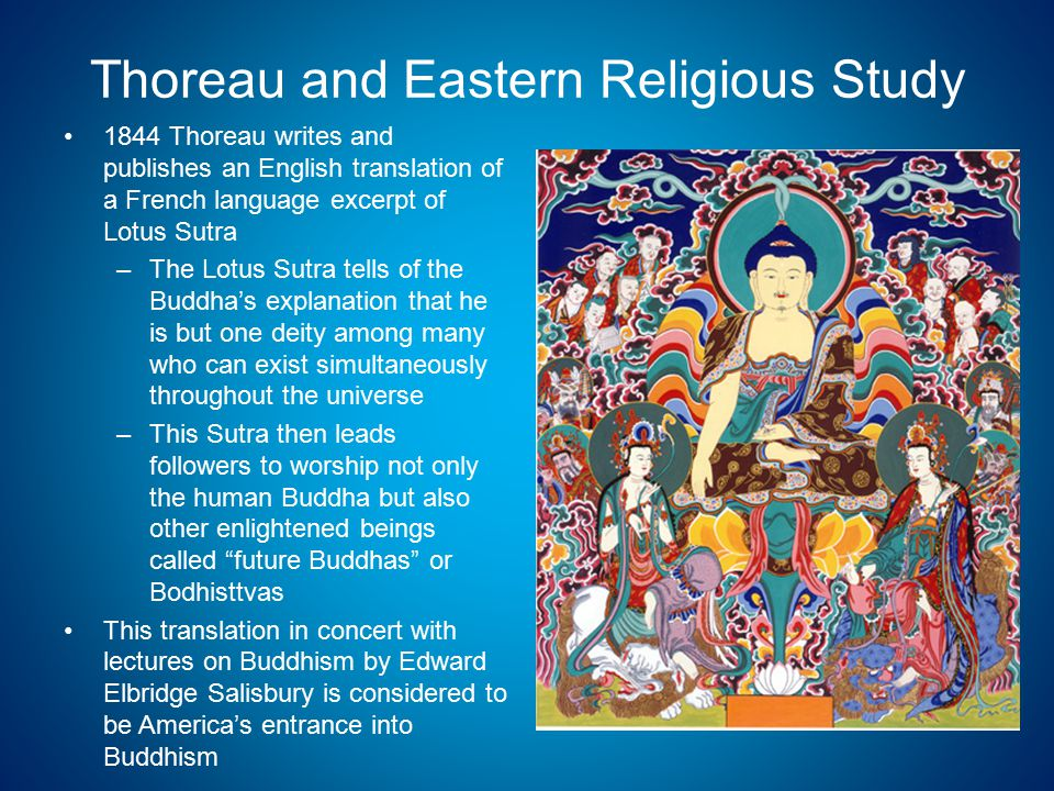 Thoreau and Eastern Religious Study 1844 Thoreau writes and publishes an English translation of a French language excerpt of Lotus Sutra –The Lotus Sutra tells of the Buddha's explanation that he is but one deity among many who can exist simultaneously throughout the universe –This Sutra then leads followers to worship not only the human Buddha but also other enlightened beings called future Buddhas or Bodhisttvas This translation in concert with lectures on Buddhism by Edward Elbridge Salisbury is considered to be America's entrance into Buddhism