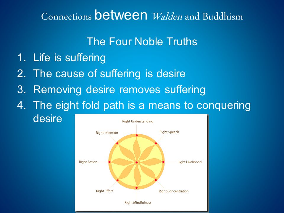 Connections between Walden and Buddhism The Four Noble Truths 1.Life is suffering 2.The cause of suffering is desire 3.Removing desire removes suffering 4.The eight fold path is a means to conquering desire
