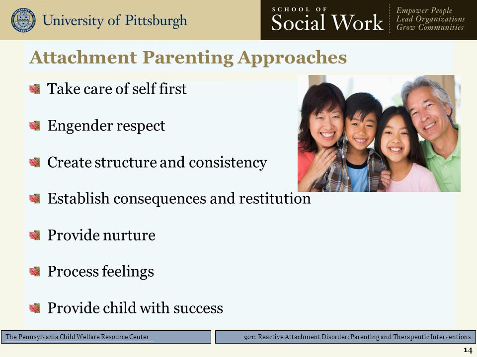 921: Reactive Attachment Disorder: Parenting and Therapeutic Interventions The Pennsylvania Child Welfare Resource Center Attachment Parenting Approaches Take care of self first Engender respect Create structure and consistency Establish consequences and restitution Provide nurture Process feelings Provide child with success 14