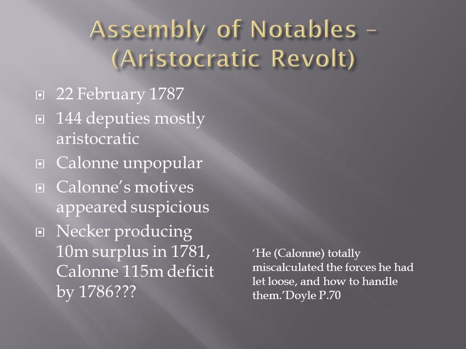  22 February 1787  144 deputies mostly aristocratic  Calonne unpopular  Calonne's motives appeared suspicious  Necker producing 10m surplus in 1781, Calonne 115m deficit by 1786??.