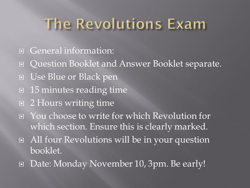  General information:  Question Booklet and Answer Booklet separate.